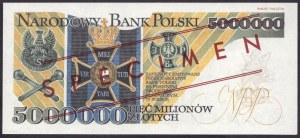 5.000.000 złotych 1995 - seria AA 0000000 - ARK - REPLIKA WZÓR