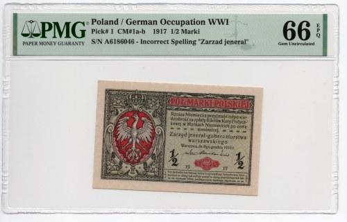 1/2 marki polskiej 1916 - jenerał - seria A - PMG 66 EPQ - 2-ga max nota