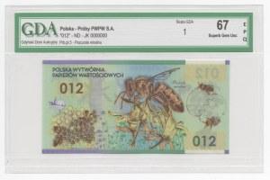 Polimerowy banknot testowy PWPW - Pszczoła Miodna 012 - numeracja JW 0000000 - GDA 67 EPQ