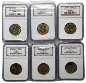 Zestaw 6 monet 2 złotowych 2004 w slabach NGC