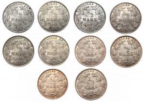 NIEMCY - zestaw 10 sztuk monet 1/2 marki (1905-1918)