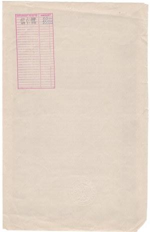 Bon Skarbu Państwa 4,25 % 1937, 40 000 $ seria A nr 5 - BARDZO RZADKI