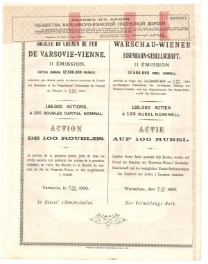 Kolej Warszawsko - Wiedeńska 100 rubli 1900 - RZADKA