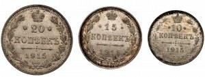 ROSJA - zestaw 10, 15 i 20 kopiejek 1915 BC