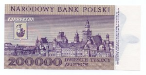 200.000 złotych 1989 - seria A - niska numeracja 0008575