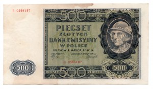 500 złotych 1940 - seria B