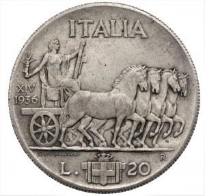 WŁOCHY - Vittorio Emanuele III - 20 lirów 1936 - RZADKIE