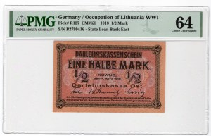 KOWNO - 1/2 marki 1918 - seria A - PMG 64