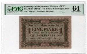 KOWNO - 1 marka 1918 - seria C - PMG 64