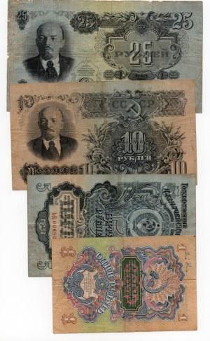 ZSRR - Zestaw banknotów 1,5,10 i 25 rubli 1947