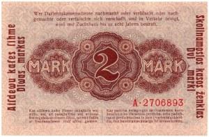 KOWNO - 2 marki 1918 - seria A - najrzadszy nominał