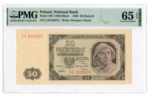 50 złotych 1948 - seria CI - PMG 65 EPQ