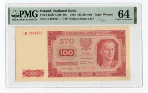 100 złotych 1948 - GR - PMG 64 - bez ramki