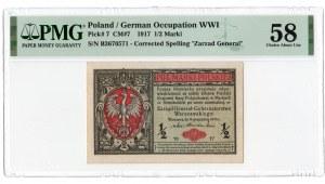 1/2 marki 1916 - seria B - Generał - PMG 58