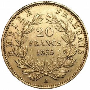 FRANCJA - 20 franków 1855 - Napoleon III - (A) Paryż