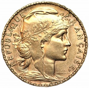 FRANCJA - 20 franków 1907 - złoto
