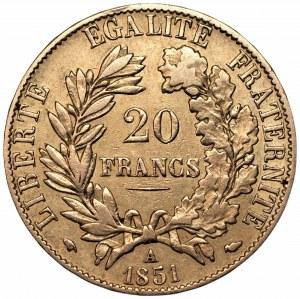 FRANCJA - 20 franków 1851 - (A) Paryż