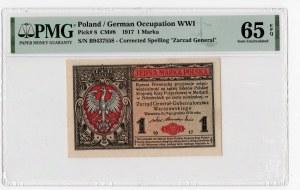 1 marka 1917 Generał - seria B - PMG 65 EPQ
