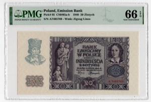 20 złotych 1940 - seria A - PMG 66 EPQ