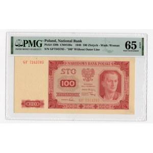 100 złotych 1948 - seria GF - bez ramki wokół nominału 100 - PMG 65 EPQ