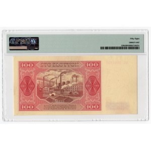 100 złotych 1948 - seria GC - bez ramki wokół nomianłu 100 - PMG 58