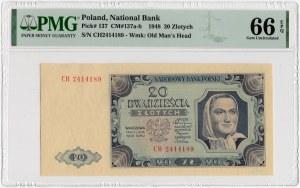 20 złotych 1948 - seria CH - PMG 66 EPQ