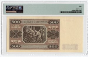 500 złotych 1948 - seria AP - PMG 50