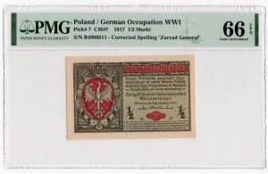 1/2 marki polskiej 1916 - Generał seria B - PMG 66 EPQ