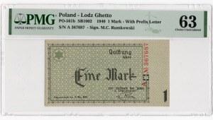 Getto w Łodzi - 1 marka 1940 - seria A - PMG 63