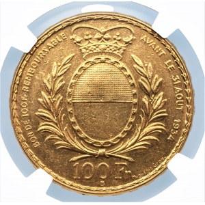 SZWAJCARIA - 100 franków 1934 (B) - Festiwal Strzelecki Fribourg - NGC AU Details
