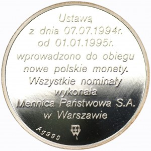 Złotogrosz 1995 - srebro Ag 999, waga 31,1 gram.