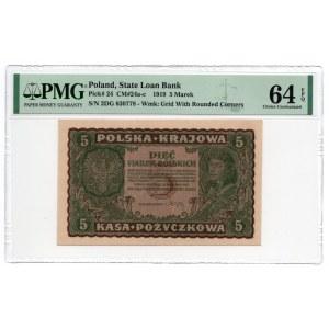 5 Marek 1919 - II Serja DG - PMG 64 EPQ