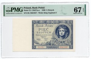 5 złotych 1930 - Ser.DŁ - PMG 67 EPQ