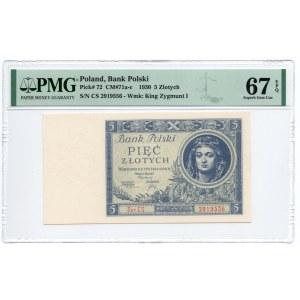 5 złotych 1930 - Ser. CS - PMG 67 EPQ