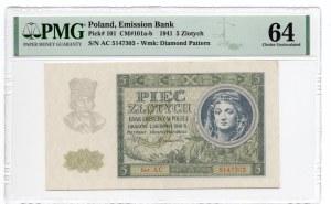 5 złotych 1941 - seria AC. - PMG 64