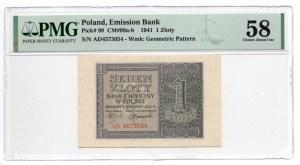 1 złoty 1941 - seria AD - PMG 58