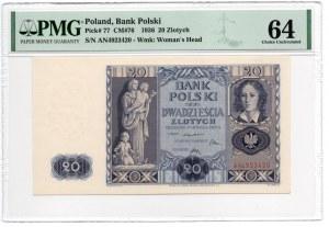 20 złotych 1936 - seria AN - PMG 64
