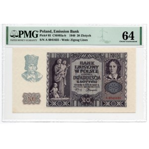 20 złotych 1940 - seria A - PMG 64