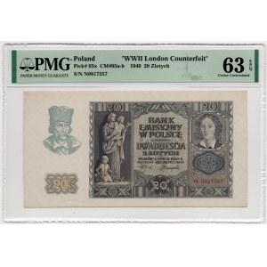 20 złotych 1940 - seria N - PMG 63 EPQ