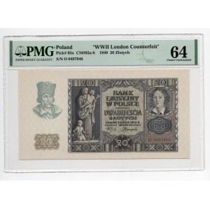 20 złotych 1940 - seria O - PMG 64