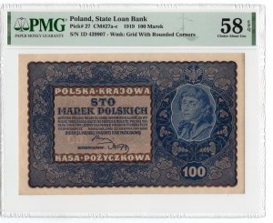 100 marek 1919 - I Serja D - PMG 58 EPQ