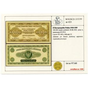 100 000 marek 1923 - seria A - Kolekcja Lucow