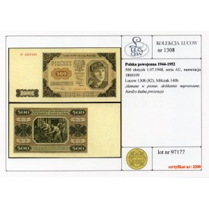 500 złotych 1948 - seria AP - Kolekcja Lucow
