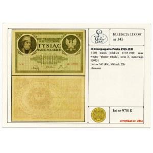 1.000 marek 1919 - seria X - Kolekcja Lucow