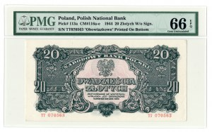20 złotych 1944, ....owe, seria TT - PMG 66 EPQ