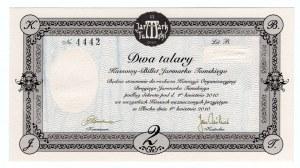 Zestaw 3 bonów stylizowanych na talary Księstaw Warszawskiego z 1810 roku. Bony wydrukowane na papierze bez znaków wodnych ale z suchymi pieczęciami. Ciekawostka.