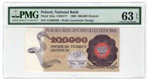 200.000 złotych 1989 - seria A - PMG 63 EPQ
