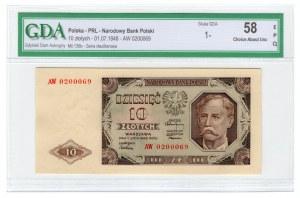 10 złotych 1948 - AW - GDA 58 EPQ