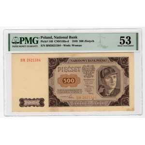 500 złotych 1948 - seria AP - PMG 53