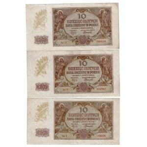 10 złotych 1940 - SET 3 sztuk